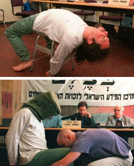 Israeli human rights activists from B'Tselem demonstrate torture and sensory deprivation techniques used on Palestinian prisoners in Israel's prison regime