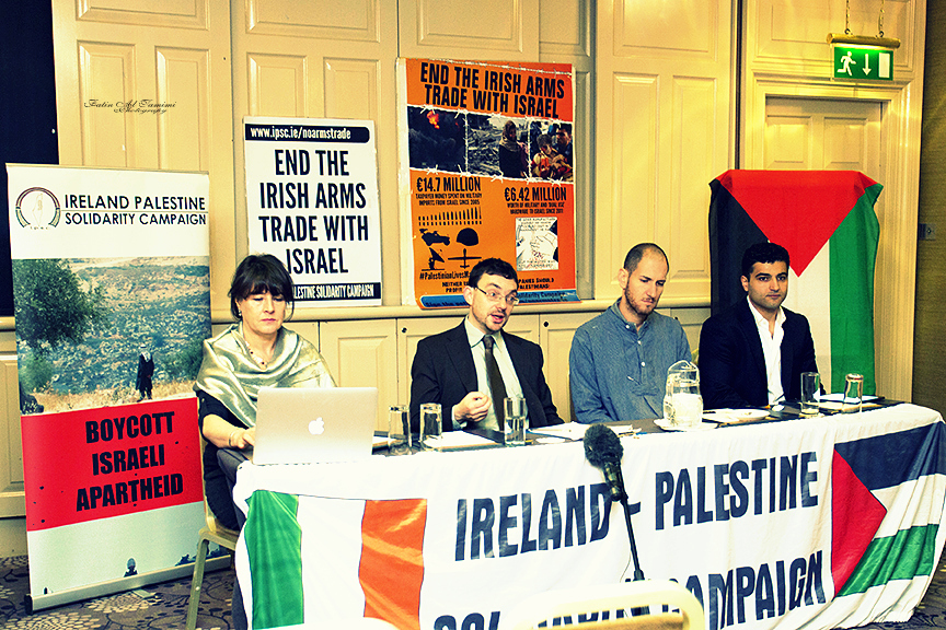 At the launch of the End the Irish Arms Trade With Israel Campaign. L-R: Elaine Bradley, Dr. David Landy, Yotam Feldman and Mahmoud Alhaj. Image credit: Fatin Al Tamimi