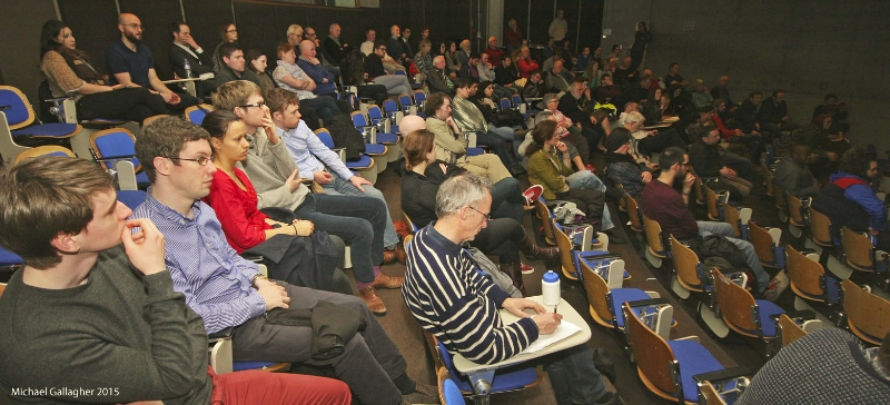 Audience at the screening of The Lab at Trinity College Dublin.  Image Credit: Michael Gallagher ©L