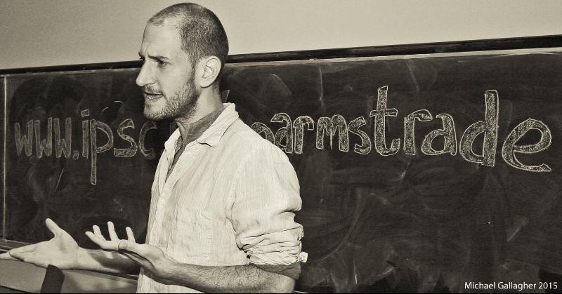 Yotam Feldman speaking at Trinity College Dublin. Image Credit: Michael Gallagher ©L