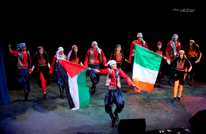 The Lajee Cultural Center's youth Dabka dancers in Dublin's Liberty Hall, April 2014 (Photo: Fatin Al Tamimi)