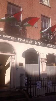 The Perase Centre, birthplace of Padraig Pearse, bedecked in Palestinian flags