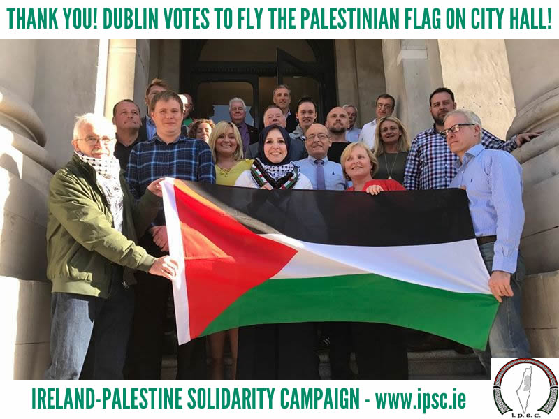 Dublin City Councillors with the Palestinian flag